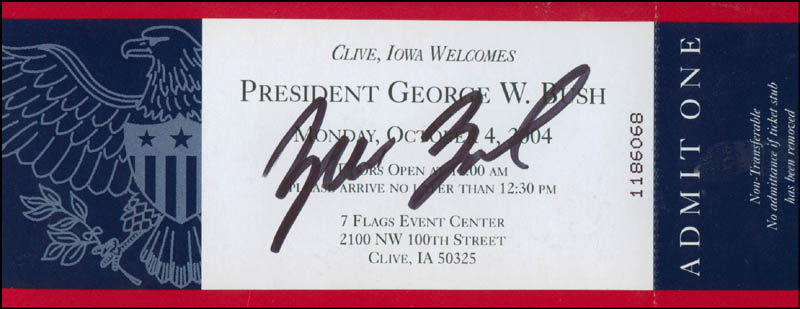 Image 1 for President George W. Bush - Ticket Signed - HFSID 301428