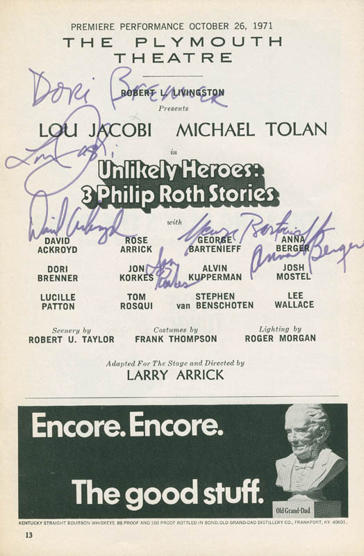 Image 1 for Unlikely Heroes Play Cast - Show Bill Signed Circa 1971 with co-signers - HFSID 301496