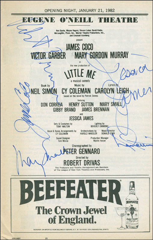 Image 1 for Little Me Play Cast - Show Bill Signed co-signed by: James 'Jimmy' Coco, Mary Gordon Murray, Robert Drivas, Jessica James, Don Correia - HFSID 301511
