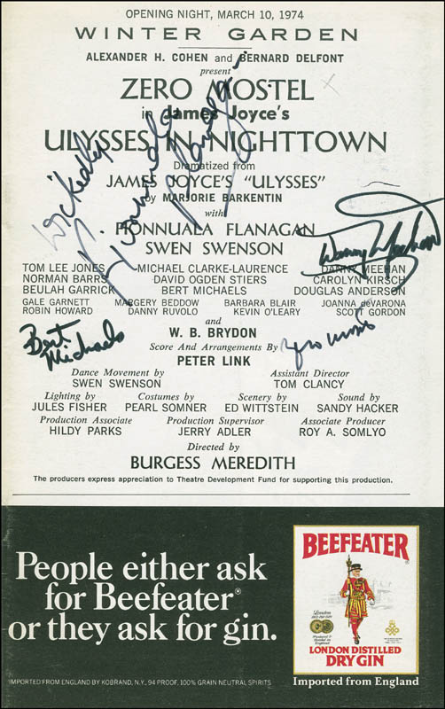 Image 1 for Ulysses In Nighttown Broadway Cast - Show Bill Signed co-signed by: Zero Mostel, Fionnula Flanagan, Danny Meehan, Bert Michaels - HFSID 301515