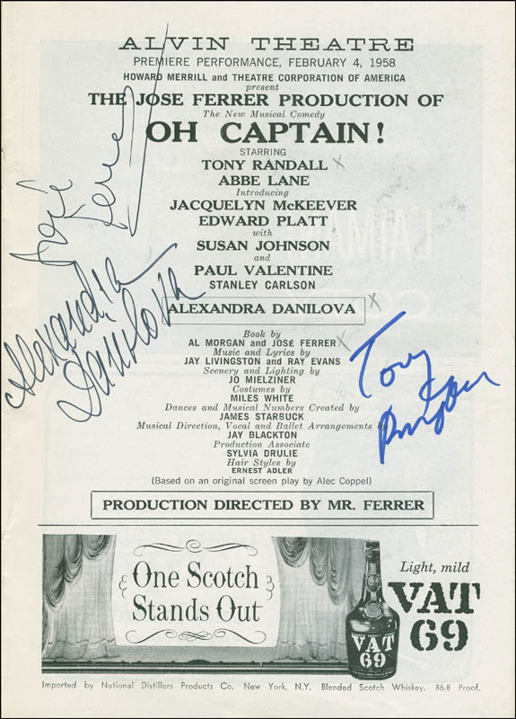 Image 1 for Oh, Captain! Play Cast - Show Bill Signed co-signed by: Alexandra Danilova, Jose Ferrer, Tony Randall - HFSID 301520
