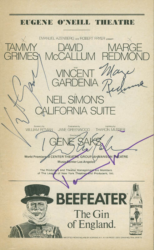 Image 1 for California Suite Play Cast - Show Bill Signed co-signed by: Tammy Grimes, David Mccallum, Vincent Gardenia, Marge Redmond - HFSID 301538