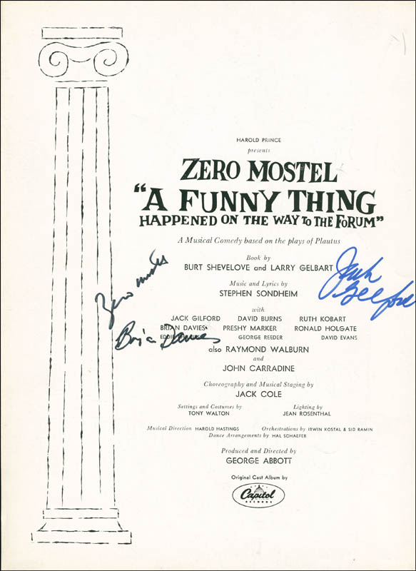 Image 1 for A Funny Thing Happened On The Way To The Forum Play Cast - Program Signed co-signed by: Jack Gilford, Zero Mostel, Brian Davies - HFSID 301549