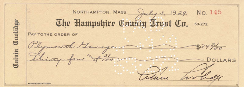 Image 1 for President Calvin Coolidge - Autographed Signed Check 07/03/1929 - HFSID 30162
