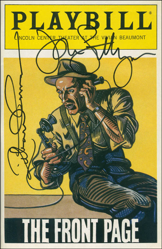 Image 1 for The Front Page Play Cast - Show Bill Signed co-signed by: John Lithgow, Richard Thomas - HFSID 301642