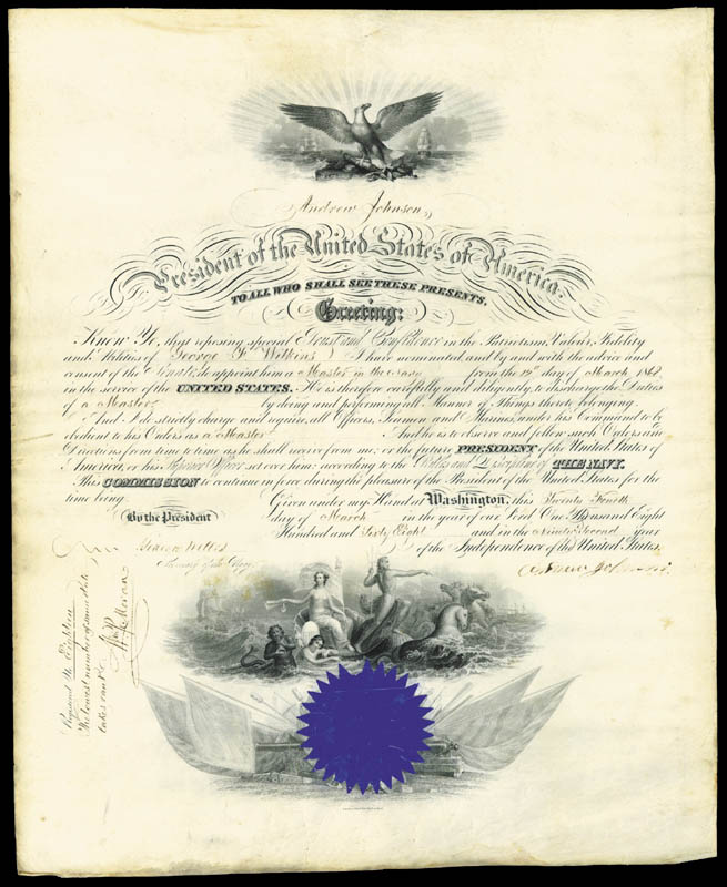 Image 3 for President Andrew Johnson - Naval Appointment Signed 03/24/1868 co-signed by: Gideon Welles - HFSID 30164