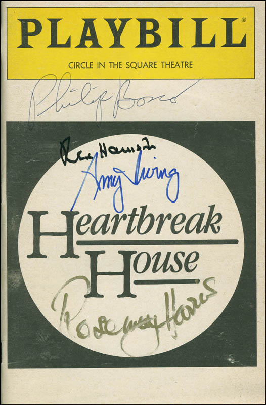 Image 1 for Heartbreak House Play Cast - Show Bill Signed co-signed by: Amy Irving, Rosemary Harris, Rex Harrison, Philip Bosco - HFSID 301658