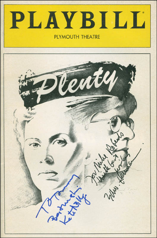 Image 1 for Plenty Play Cast - Inscribed Show Bill Signed co-signed by: Kate Nelligan, Edward Herrmann - HFSID 301713