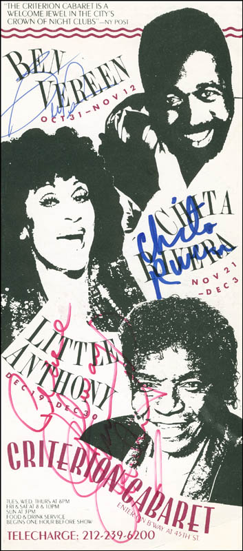 Image 1 for Little Anthony And The Imperials (Anthony Gourdine) - Advertisement Signed co-signed by: Chita Rivera, Ben Vereen - HFSID 301718