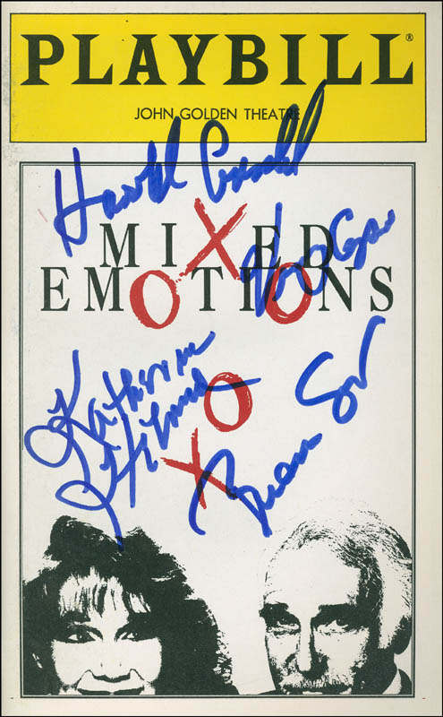 Image 1 for Mixed Emotions Play Cast - Show Bill Signed co-signed by: Katherine Helmond, Harold Gould, Vince Cupone, Brian Smiar - HFSID 301721