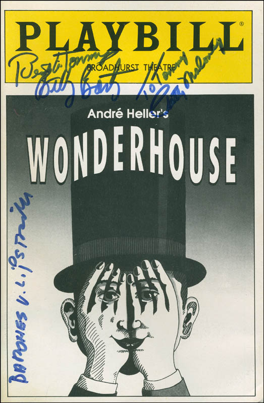Image 1 for Wonderhouse Play Cast - Inscribed Show Bill Signed co-signed by: Billy Barty, Patty Maloney, Jeanette 'Baroness Lips Von Lipstrill' Schmid - HFSID 301723