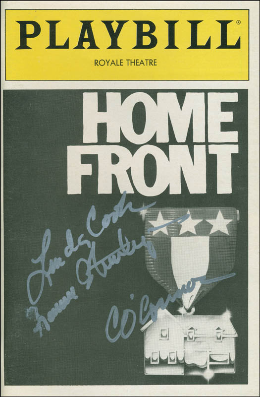 Image 1 for Home Front Play Cast - Show Bill Signed co-signed by: Carroll O'Connor, Linda Cook, Frances Sternhagen - HFSID 301726