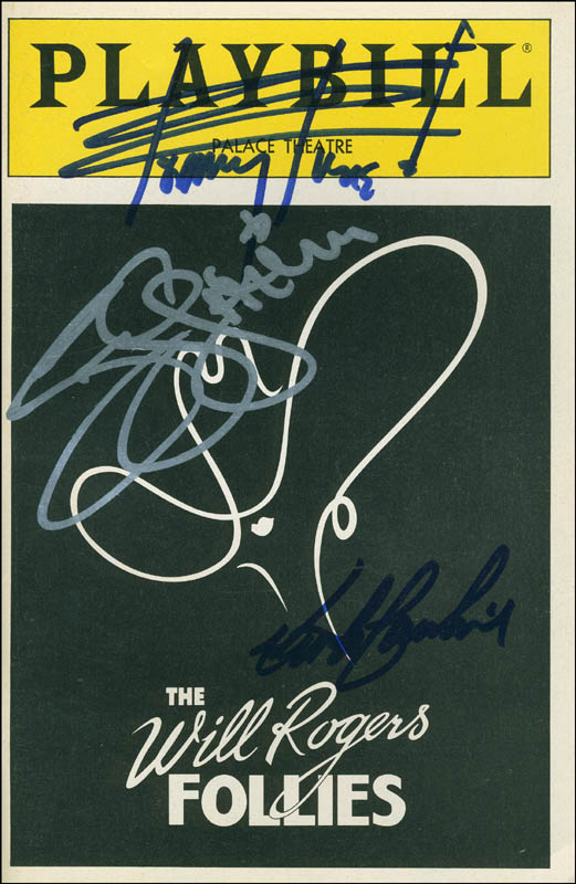 Image 1 for The Will Rogers Follies Play Cast - Show Bill Signed co-signed by: Tommy Tune, The Gatlin Brothers (Larry Gatlin), Keith Carradine - HFSID 301729