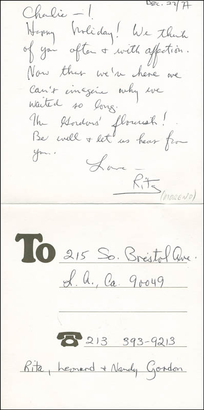 Image 1 for Rita Moreno - Autograph Letter Signed 12/22/1977 - HFSID 302023