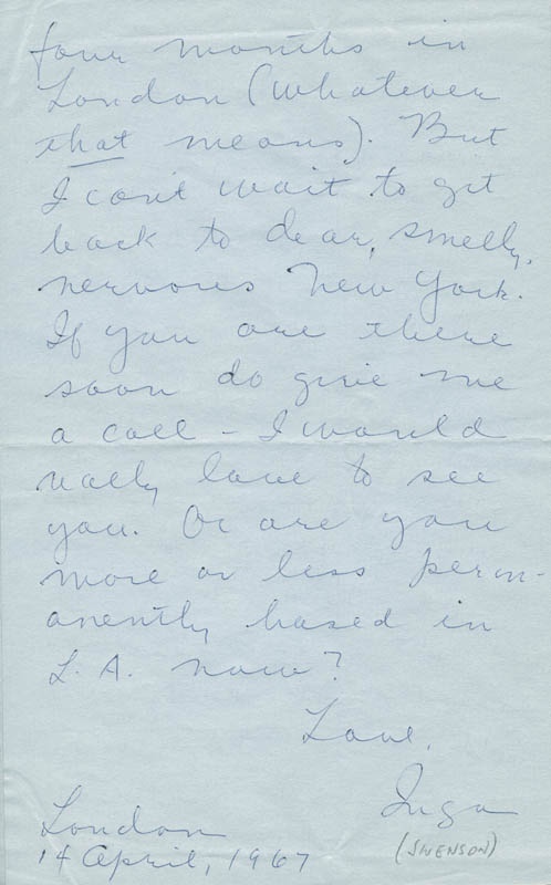 Image 1 for Inga Swenson - Autograph Letter Signed 04/14/1967 - HFSID 302026