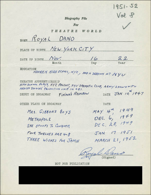Image 1 for Royal Dano - Autograph Resume Signed - HFSID 302074