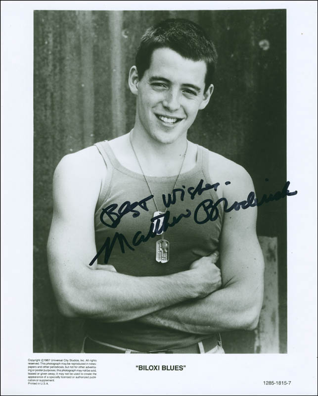Matthew Broderick Printed Photograph Signed In Ink