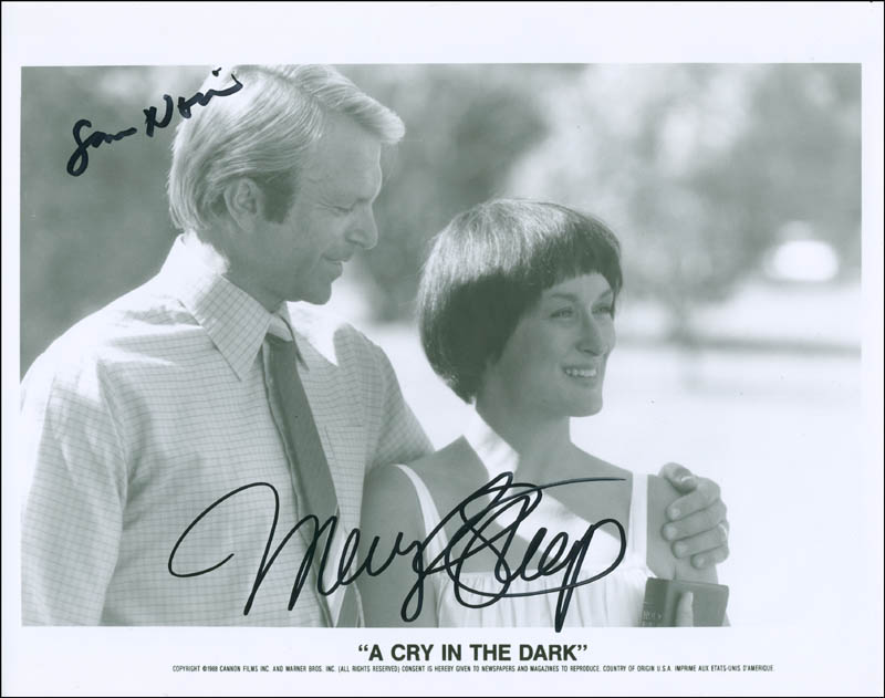Image 1 for A Cry In The Dark Movie Cast - Printed Photograph Signed In Ink co-signed by: Meryl Streep, Sam Neill - HFSID 302720