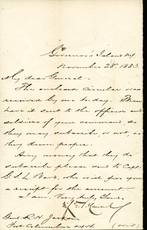 Image 1 for Major General Winfield Scott Hancock - Manuscript Letter Signed 11/28/1883 - HFSID 30293