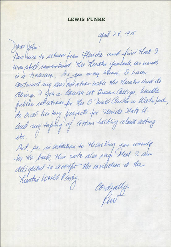Image 1 for Lewis B. Funke - Autograph Letter Signed 04/24/1975 - HFSID 302941
