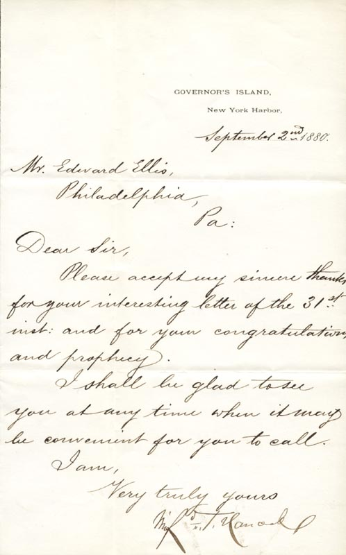 Image 1 for Major General Winfield Scott Hancock - Manuscript Letter Signed 09/02/1880 - HFSID 30318