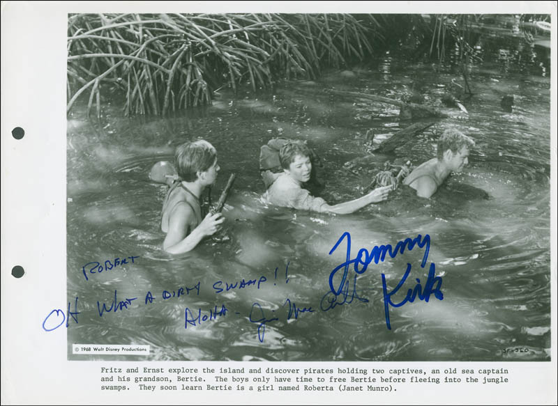 Image 1 for Swiss Family Robinson Movie Cast - Autographed Inscribed Photograph co-signed by: Tommy Kirk, James Macarthur - HFSID 303319