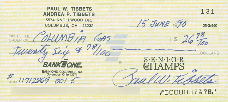Image 1 for Enola Gay Crew (Paul W. Tibbets) - Autographed Signed Check 06/15/1990 - HFSID 303460
