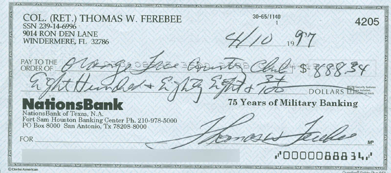 Image 1 for Enola Gay Crew (Colonel Thomas W. Ferebee) - Autographed Signed Check 04/10/1997 - HFSID 303462
