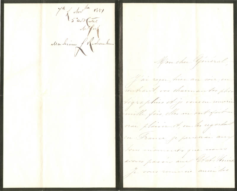 Image 3 for Isabelle 'Marchioness De Rochambeau' Dutey-harispe - Autograph Letter Signed 11/07/1881 co-signed by: Major General Winfield Scott Hancock - HFSID 30386