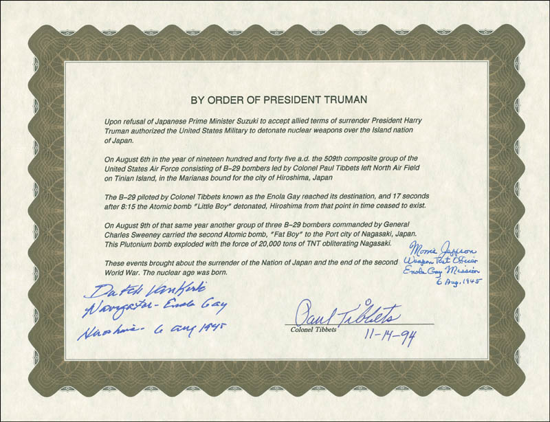Image 1 for Enola Gay Crew (Paul W. Tibbets) - Document Signed 11/14/1994 with co-signers - HFSID 303870