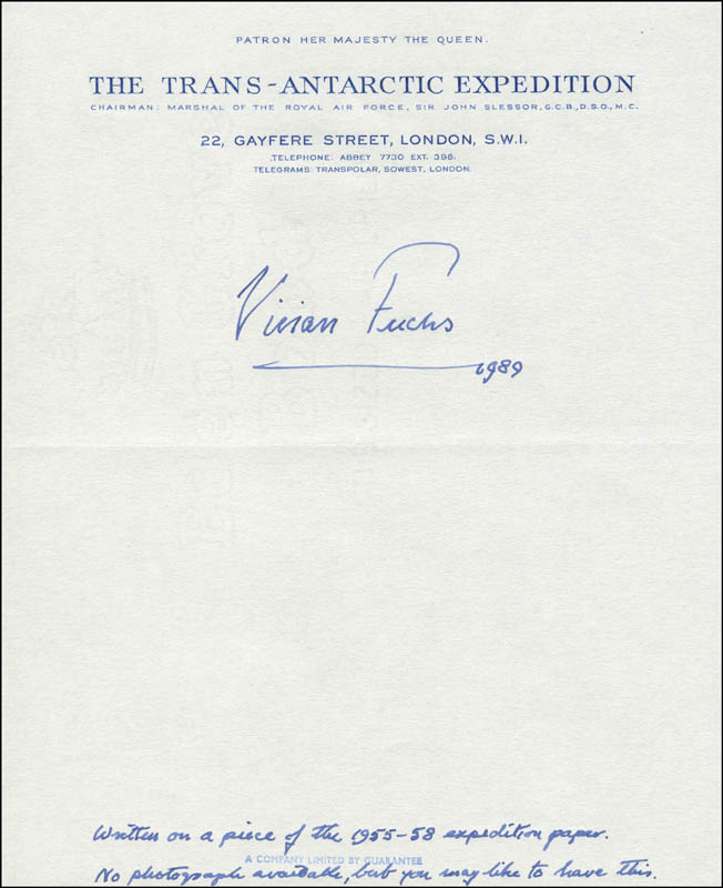 Image 1 for Sir Vivian E. Fuchs - Autograph Note Signed 1989 - HFSID 304124
