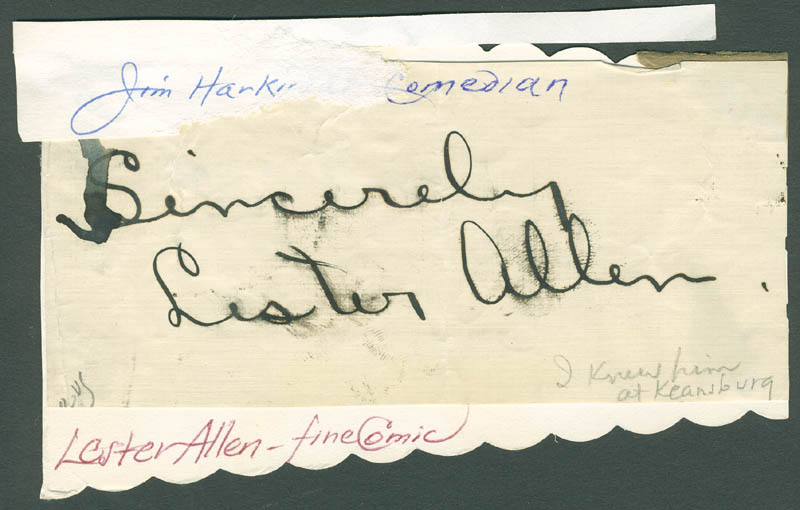 Image 1 for Lester Allen - Autograph Sentiment Signed - HFSID 304457