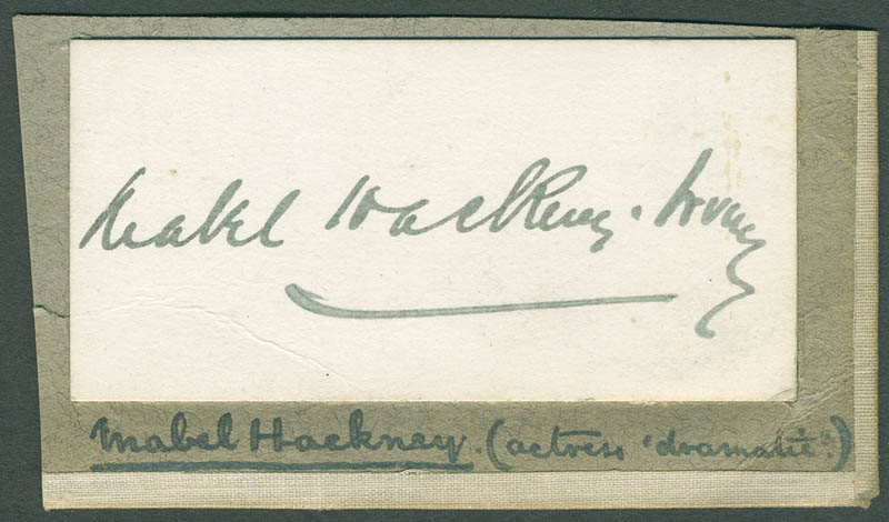 Image 1 for Mabel Hackney - Autograph - HFSID 304505