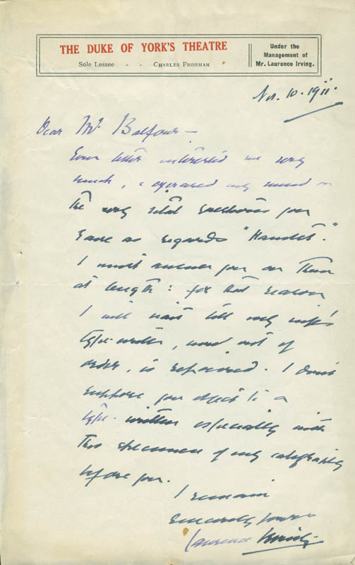 Image 1 for Laurence S. B. Irving - Autograph Letter Signed 11/10/1911 - HFSID 304551