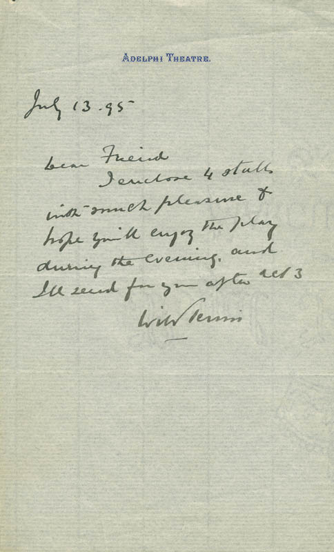 Image 1 for William Terriss - Autograph Letter Signed 07/13/1895 - HFSID 304666