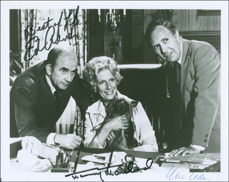 Image 1 for Lou Grant TV Cast - Autographed Signed Photograph co-signed by: Nancy Marchand, Ed Asner, Mason Adams - HFSID 304816