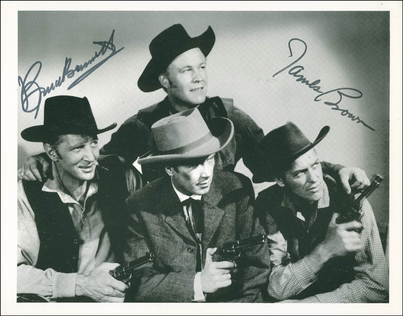 Image 1 for The Younger Brothers Movie Cast - Autographed Signed Photograph co-signed by: James L. 'Rip' Brown, Bruce (Herman Brix) Bennett - HFSID 304864