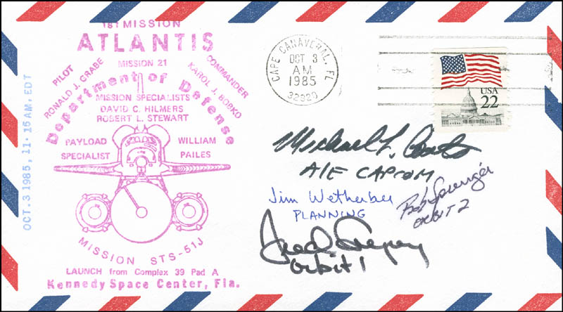 Image 1 for Captain James D. Wetherbee - Commemorative Envelope Signed with co-signers - HFSID 304920