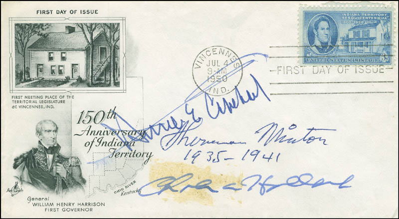 Image 1 for Associate Justice Sherman Minton - First Day Cover Signed co-signed by: Charles A. Halleck, Homer E. Capehart - HFSID 305012