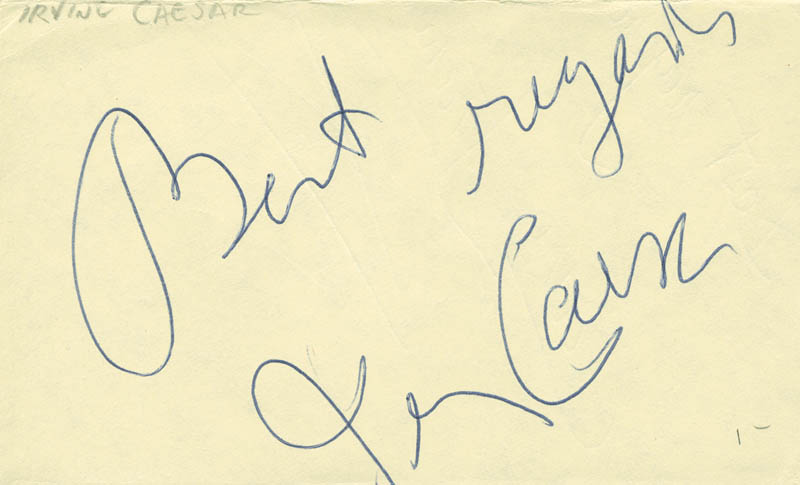 Image 1 for Irving Caesar - Autograph Sentiment Signed - HFSID 305114
