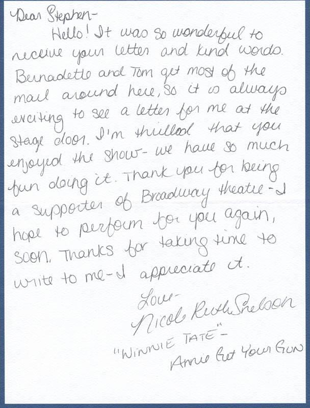Image 1 for Nicole Ruth 'Nikki' Snelson - Autograph Letter Signed - HFSID 305210