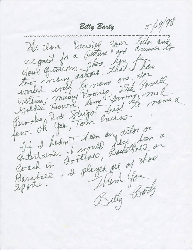 Image 1 for Billy Barty - Autograph Letter Signed 05/19/1998 - HFSID 305561