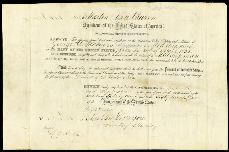 Image 1 for President Martin Van Buren - Naval Appointment Signed 09/16/1837 co-signed by: L.B. Hardin, Mahlon Dickerson - HFSID 30560
