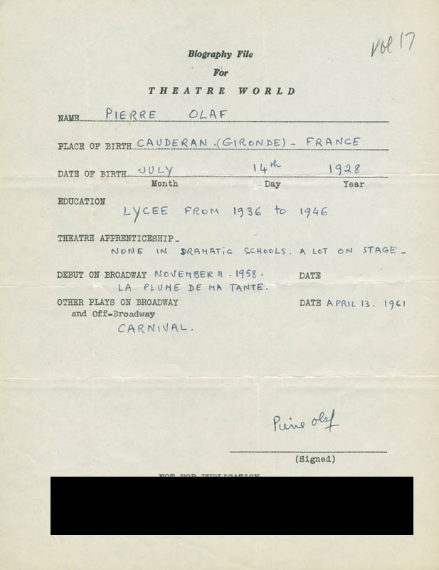 Image 1 for Pierre Olaf - Autograph Resume Signed - HFSID 305969