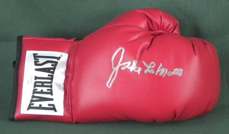 Image 1 for Jake 'The Raging Bull' La Motta - Boxing Glove Signed - HFSID 306109