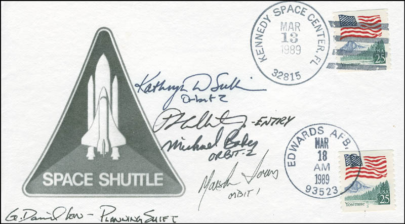 Image 1 for Captain Kathryn D. Sullivan - Commemorative Envelope Signed co-signed by: Captain Mike Baker, Marsha IVins, G. David Low, P.J. Culbertson - HFSID 306259