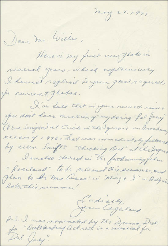 Image 1 for Joan Copeland - Autograph Letter Signed 05/24/1977 - HFSID 306381