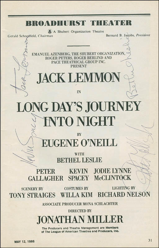 Image 1 for Long Day'S Journey Into Night Play Cast - Show Bill Signed co-signed by: Jack Lemmon, Kevin Spacey, Peter Gallagher, Bethel Leslie - HFSID 306581