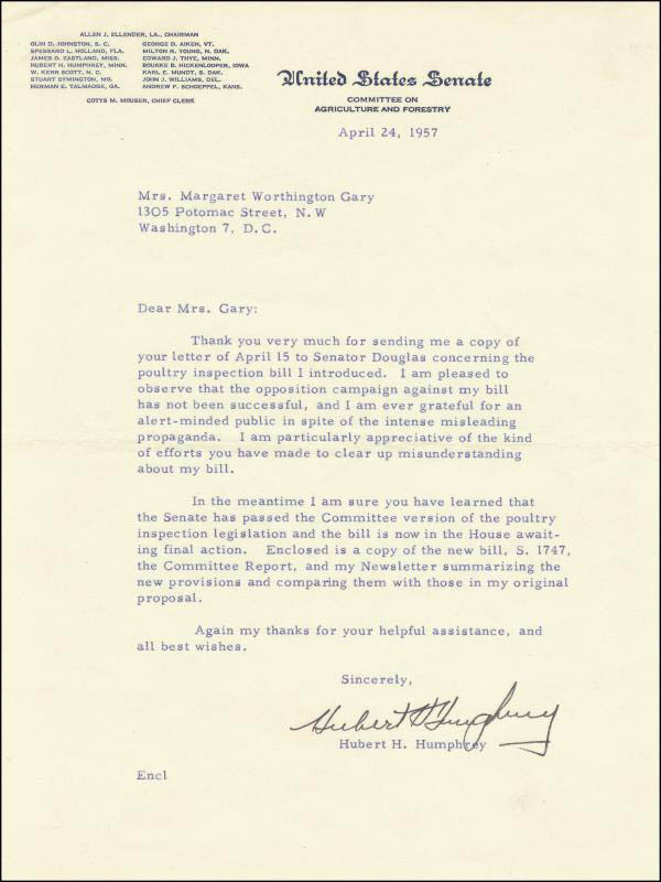 Image 1 for Vice President Hubert H. Humphrey - Typed Letter Signed 04/24/1957 - HFSID 30688