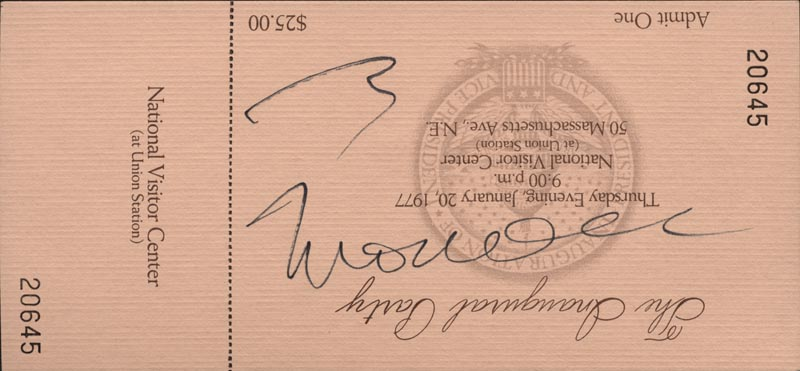 Image 1 for Vice President Walter F. Mondale - Inaugural Ticket Signed Circa 1977 - HFSID 30690